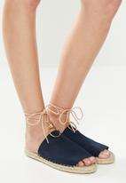 Espadril - Suede slip-on with cord and brass ring - navy