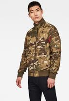 G-Star RAW - Bolt zip camo bomber jacket - green