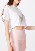 Factorie - Short sleeve raw edge crop tee - white