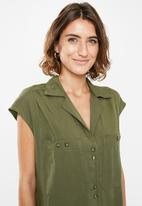 edit - Longer length utility shirt - khaki