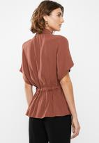 edit - Short sleeve button through - rust