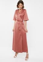 edit - Wrapover satin maxi dress - rust