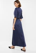 edit - Wrapover satin maxi dress - navy