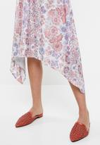 edit - Belted fit and flare dress - multi