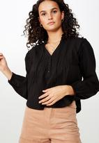 Cotton On - Casey blouson sleeve blouse - black