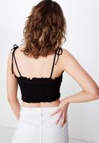 Cotton On - Chelsea shirred cropped cami - black