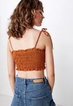 Cotton On - Chelsea shirred cropped cami - rust