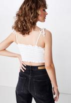 Cotton On - Chelsea shirred cropped cami - white