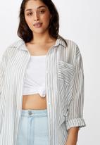 Cotton On - Curve savannah oversized Angie stripe - navy & white