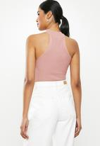 Missguided - Racer neck bodysuit - pink