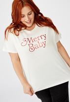 Cotton On - Curve graphic tee merry baby - cream