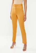 Missguided - Linen belted cigarette trousers - orange