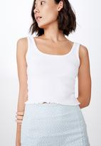 Factorie - Picot trim detail tank top - white