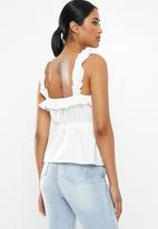 Missguided - Ruffle ruched waist cami - white