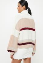 Missguided - Stripe turtle neck oversized crop jumper - multi