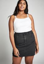 Cotton On - Curve denim skirt - black