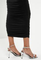 Missguided - Bardot slinky ruched midaxi dress - black