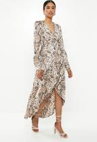 Missguided - High low wrap midi snake dress - brown