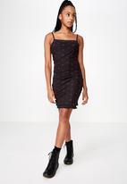 Factorie - Mesh mini dress - black & red
