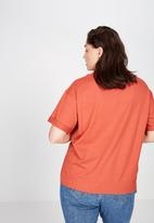 Cotton On - Curve relaxed boyfriend tee - red