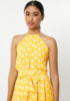 Missguided - Polka dot high neck playsuit - yellow & white