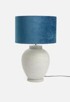 Sixth Floor - Velvet barrel lampshade - blue