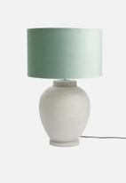 Sixth Floor - Velvet barrel lampshade - sea foam