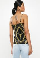 Missguided - Plisse chain print cami - black & yellow