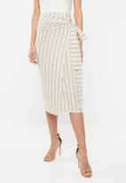 edit - Linen blend skirt - beige & cream