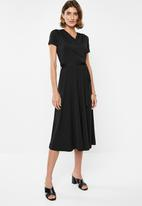 edit - Wrap over fit and flare dress - black