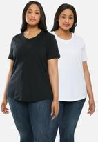 Superbalist - 2 Pack scoop neck tee - black & white