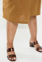 edit Plus - Linen wrap skirt - brown