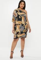 edit Plus - One shoulder asymmetrical dress - multi