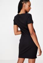 Factorie - Button thru short sleeve rib dress - black
