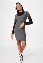 Factorie - Button thru short sleeve rib dress - charcoal