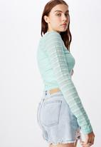 Factorie - Textured table cardi - turquoise