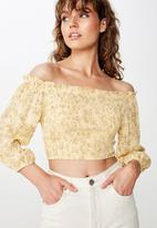 Cotton On - Tesse off shoulder blouse - yellow