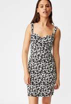Factorie - Sweetheart mini dress Taylor ditsy - black & white