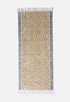Sixth Floor - Bashira printed runner - grey & mustard