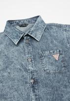 GUESS - Short sleeve denim shirt - blue