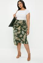 edit Plus - Linen wrap skirt - khaki