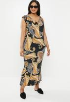 edit Plus - Cowl front classic dress - multi