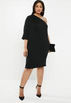 edit Plus - One shoulder asymmetrical dress - black