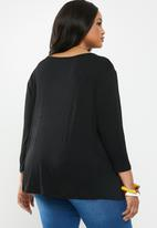 edit Plus - Lace inset V-neck top - black