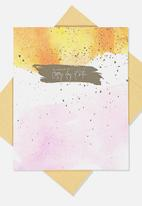 Typo - Nice birthday card - orange brush stroke