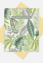 Typo - Nice birthday card - fern foliage amazing birthday