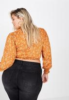 Cotton On - Curve wrap blouse - orange