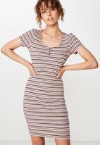 Cotton On - Gabby short sleeve abi stripe dress - pink & blue