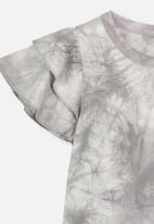 Cotton On - Tie dye flutter top - grey