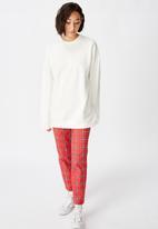 Factorie - Oversized crew neck sweater - white